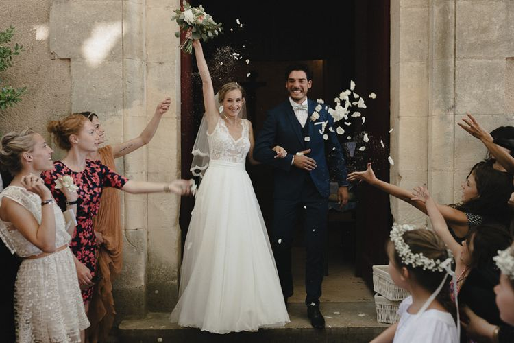 Bride in Nicolas Fafiotte Wedding Dress & Groom in Faubourg Saint-Sulpice Suit | Sebastien Boudot Photography