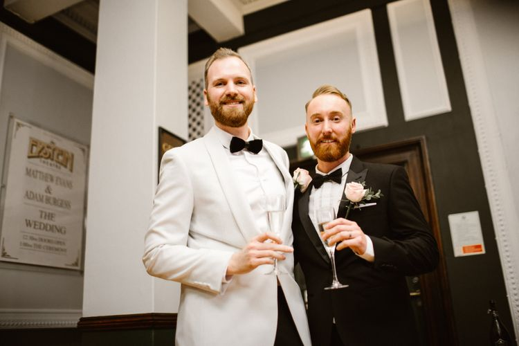 Groom & Groom in Tuxedos at Wedding Ceremony at The Epstein Theatre Liverpool