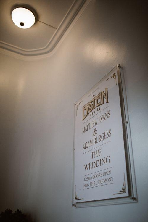 The Epstein Theatre Liverpool Wedding Sign