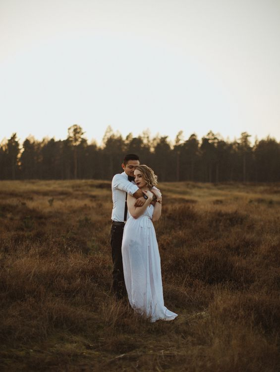 Golden Hour Engagement Pre Wedding Shoot At Thetford Forest Norfolk Suffolk With Stylish Couple And Images From Gione Da Silva