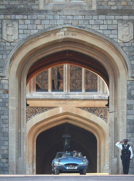 Meghan Markle & Prince Harry In E-Type Jaguar Wedding Reception Frogmore House Meghan Wears Stella McCartney