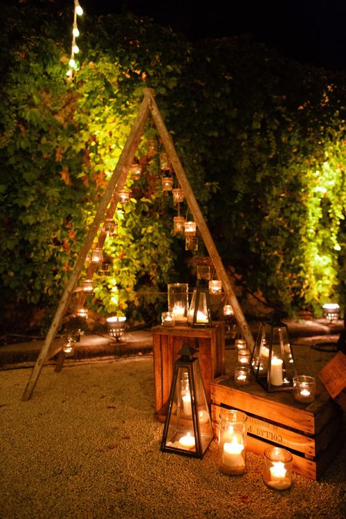 Rustic Ladder Hanging Candles