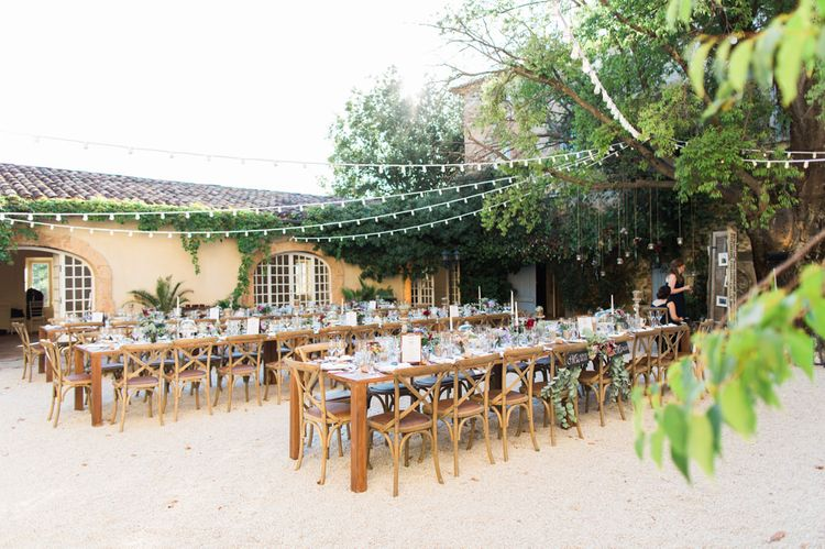 Outdoor Wedding Reception | Festoon Lights