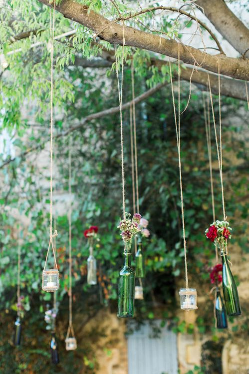 Hanging Bottles Wedding Decor