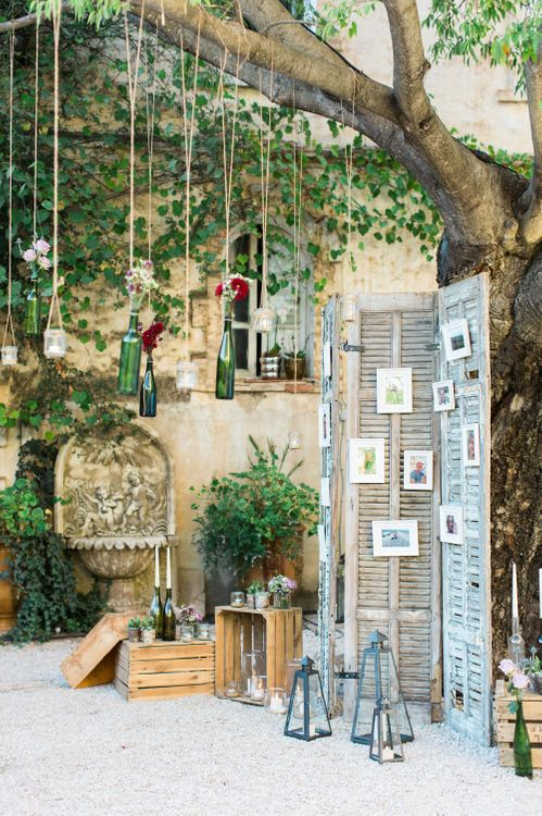 Rustic Wedding Decor | Screen | Hanging Bottles