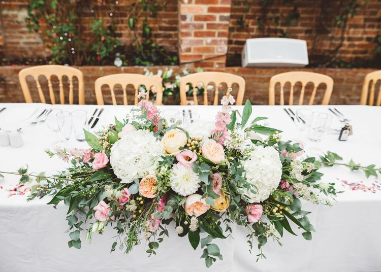 Romantic Blush, White & Greenery Top Table Floral Arrangement
