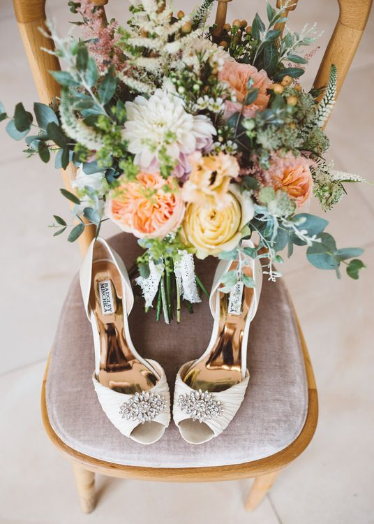 Badgley Mishka Bridal Shoes & Bouquet