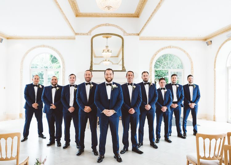 Groomsmen in Blue Suits & Bow Ties