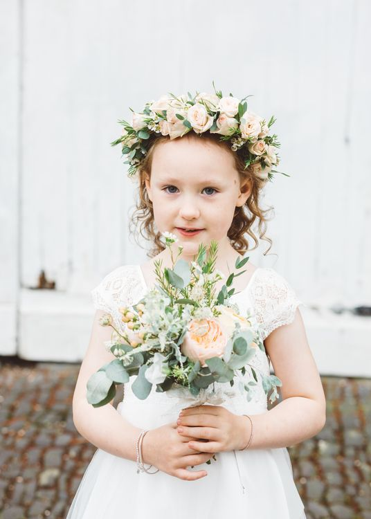 Flower Girl in John Lewis Dress & Flower Crown