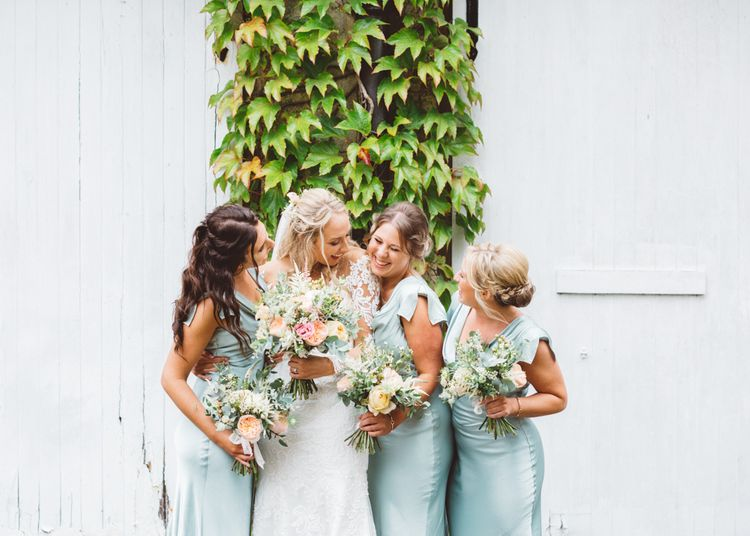 Bridesmaids in Mint Green Ghost Sylvia Dresses