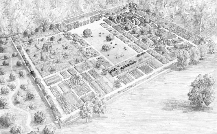 Kitchen Garden and Orangery with sketch