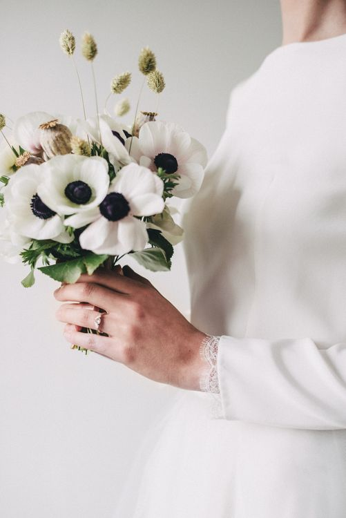 Anemone Flower Wedding Bouquet // Minimal Elegant Bridal Inspiration Shoot With Ikebana Inspired Floral Arrangements By Kitten Grayson // Planned & Styled By Anemone Style // Images Genevieve Wedding Photography