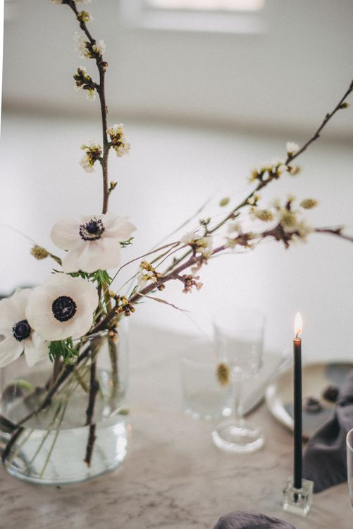 Anemone Wedding Flowers // Minimal Elegant Bridal Inspiration Shoot With Ikebana Inspired Floral Arrangements By Kitten Grayson // Planned & Styled By Anemone Style // Images Genevieve Wedding Photography