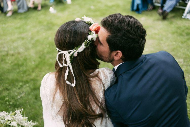 Spanish Outdoor Wedding Ceremony | Boho Bride in Veronica Miranda Bridal Separates & Flower Crown & Groom in Navy Suit & Bow Tie