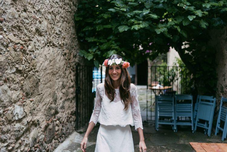 Boho Bride in Veronica Miranda Bridal Separates & Flower Crown