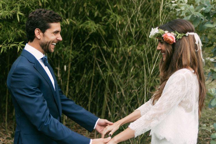First Look | Boho Bride in Veronica Miranda Bridal Separates & Flower Crown & Groom in Navy Suit & Bow Tie