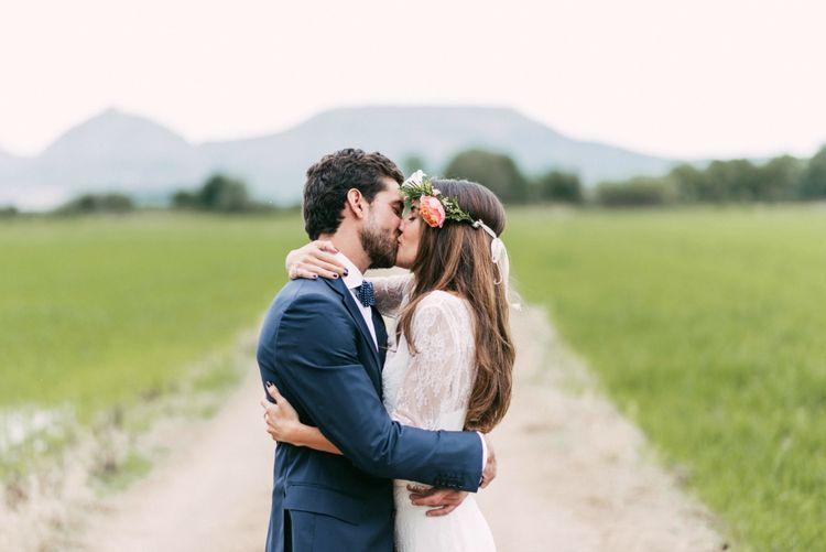 Boho Bride in Veronica Miranda Bridal Separates & Flower Crown & Groom in Navy Suit & Bow Tie