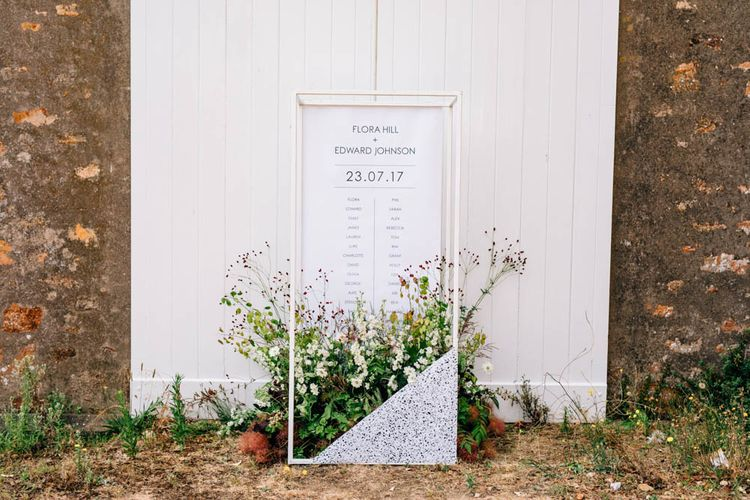 Floral Table Plan Styled By Cherish