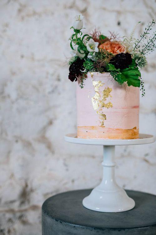 Blush Pink Wedding Cake With Brushed Gold Detail