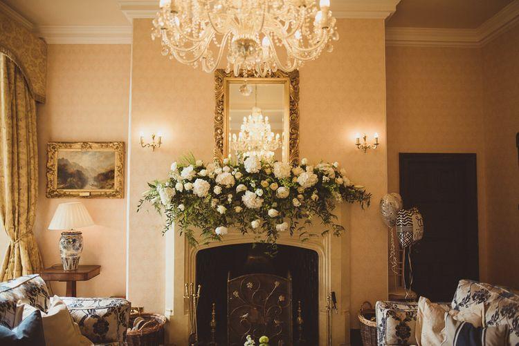 White Roses & Hydrangea Fireplace Overmantel Floral Arrangement