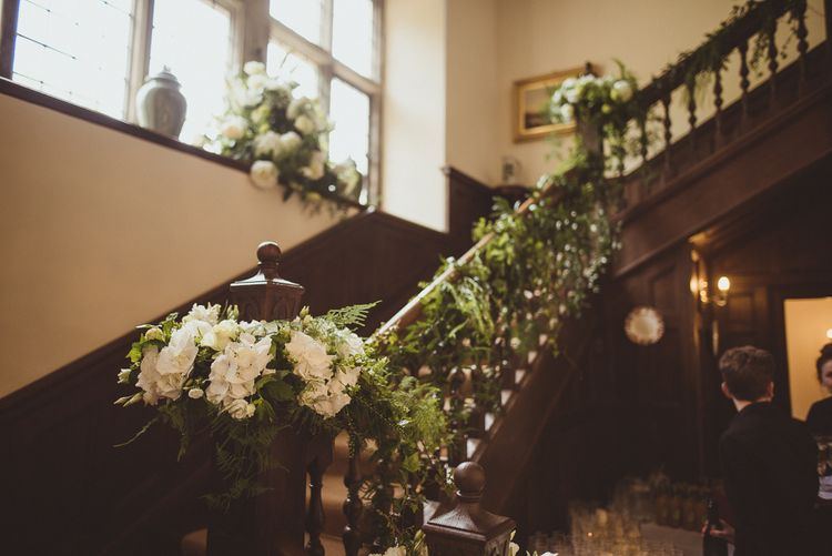 White Roses & Hydrangea Staircase Floral Arrangement