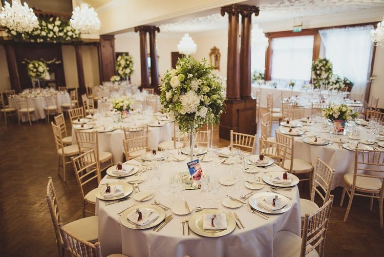 Tall Candelabras with White Flowers Wedding Table Centrepieces