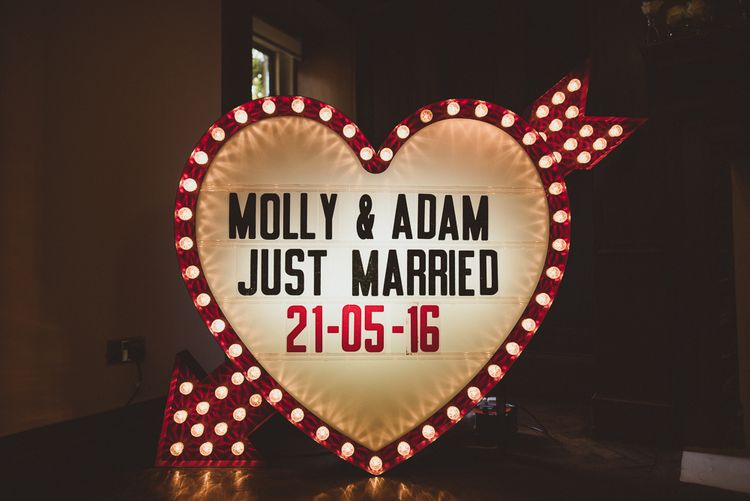 Personalised Light Up Heart Wedding Sign