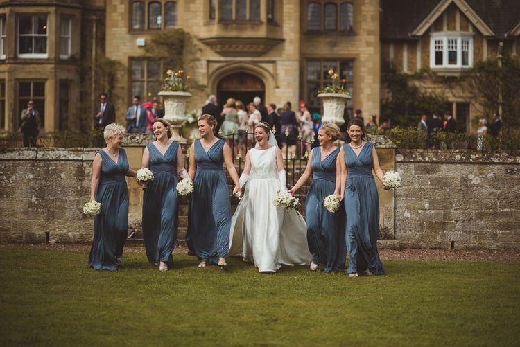 Bridesmaids in Blue John Lewis Dresses