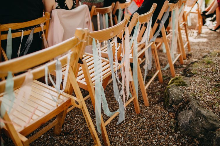 Wooden Chairs With Ribbons For Wedding