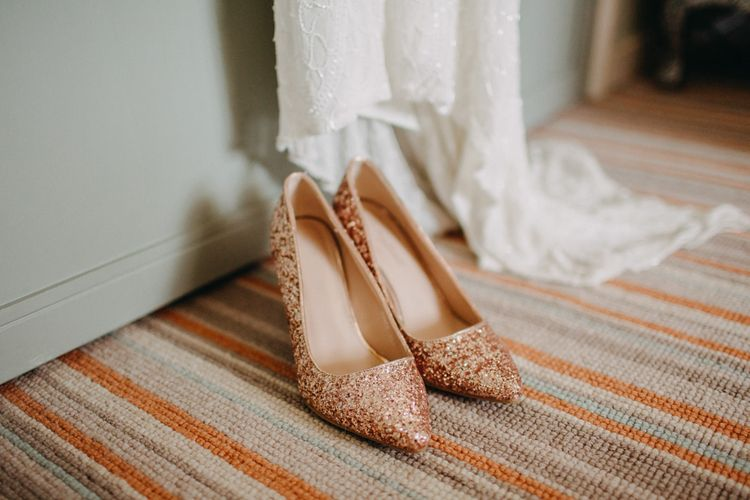 Rose Gold Glitter Wedding Shoes From TK Maxx