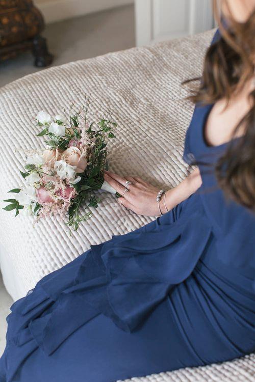 Navy Bridesmaid dress and PANDORA jewellery