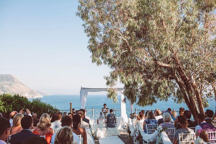 Outdoor Wedding Ceremony Overlooking the Mediterranean Sea