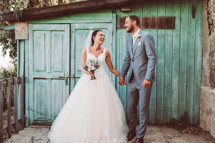 Bride in Essense of Australia (D1919) Wedding Dress & Groom in Blue Reiss Suit