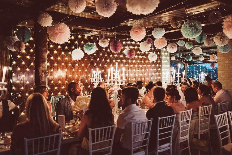 Fairy Lights, Hanging Lanterns, Honey Comb Balls & Paper Pom Poms Wedding Decor