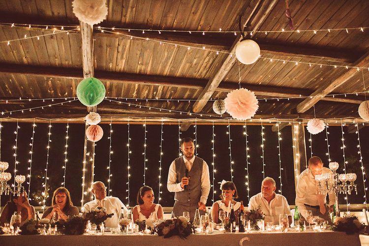 Fairy Lights, Honey Comb Balls & Pom Poms Wedding Decor
