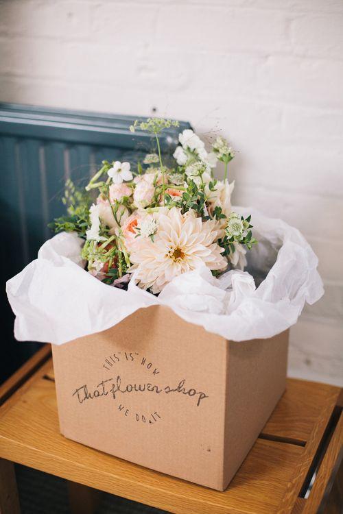 Pastel Wedding Bouquet With Dahlias