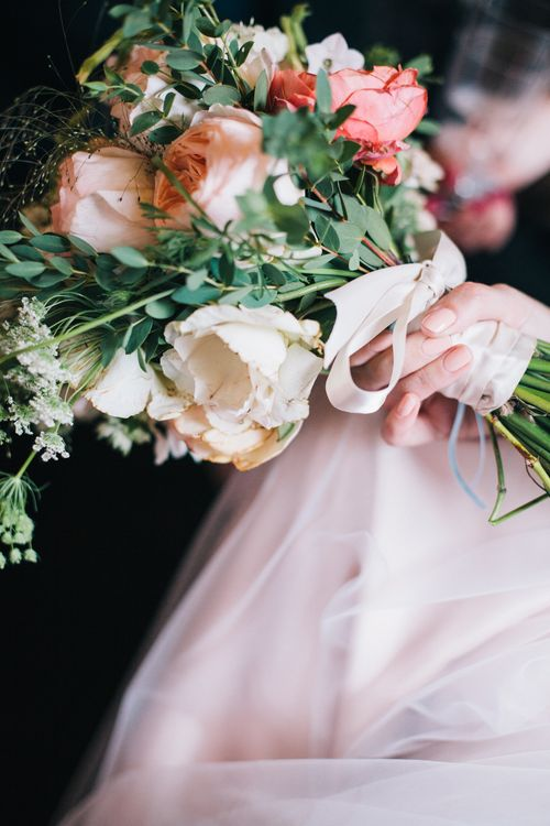 Pastel Wedding Bouquet With Roses & Dahlias