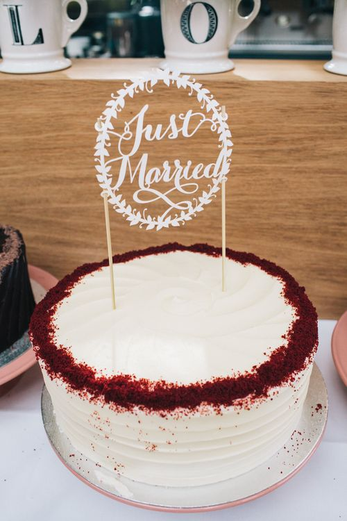 Buttercream Wedding Cake With Lasercut Cake Topper