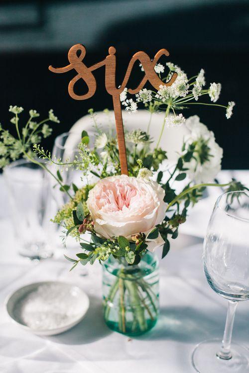 Glass Bottle Floral Wedding Centrepieces