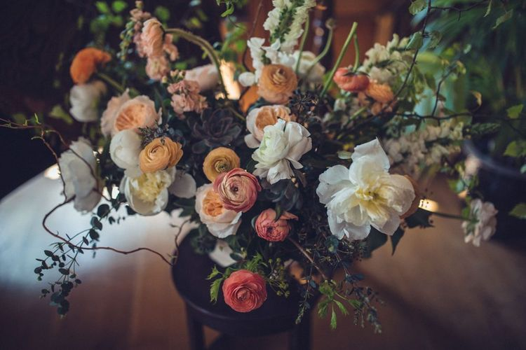 Peach & White Wedding Flowers | Vintage Wedding at Burgh House & The Pickle Factory London | Lovestruck Photography