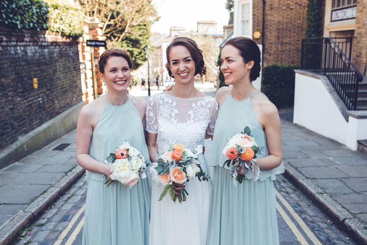 Bridesmaids in Pastel Green Dessy Dresses | Bride in Alice Temperley Saffron Gown | Vintage Wedding at Burgh House & The Pickle Factory London | Lovestruck Photography