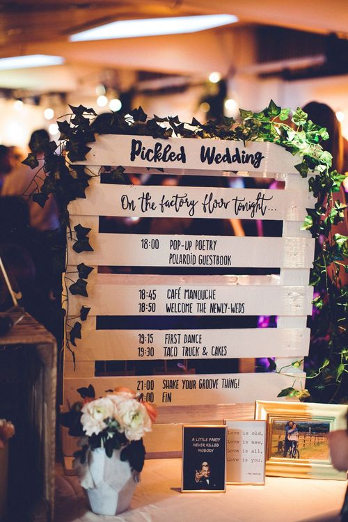 Wooden Crate Order of the Day Sign | Vintage Wedding at Burgh House & The Pickle Factory London | Lovestruck Photography