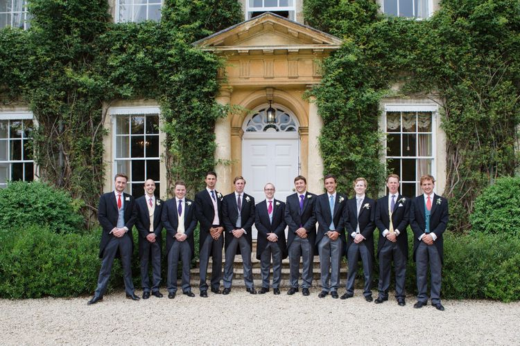 Groomsmen in Traditional Morning Suits | Beautiful Classic Wedding at Cornwell Manor | Lucy Davenport Photography