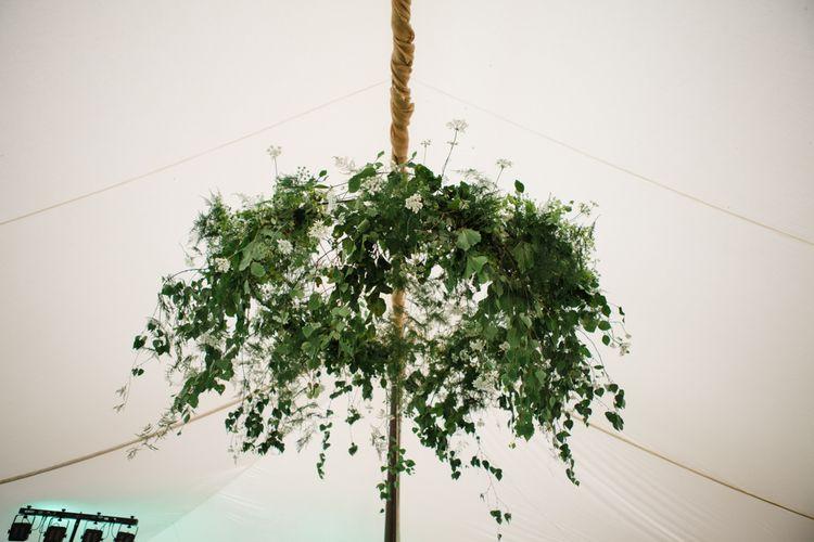 Hanging Greenery Installation | Beautiful Classic Wedding at Cornwell Manor | Lucy Davenport Photography