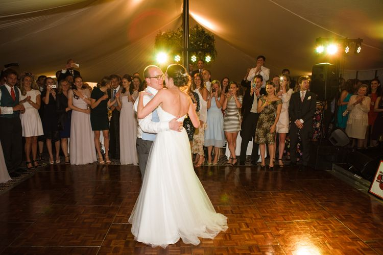 First Dance | Bride in Ingrida Bridal Gown | Groom in Tails | Beautiful Classic Wedding at Cornwell Manor | Lucy Davenport Photography