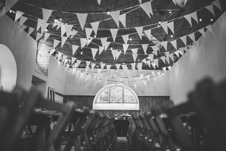 Bunting & Fairy Lights For A Rustic Wedding Reception