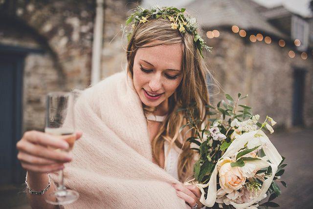 Bride in Pink Cashmere Shawl