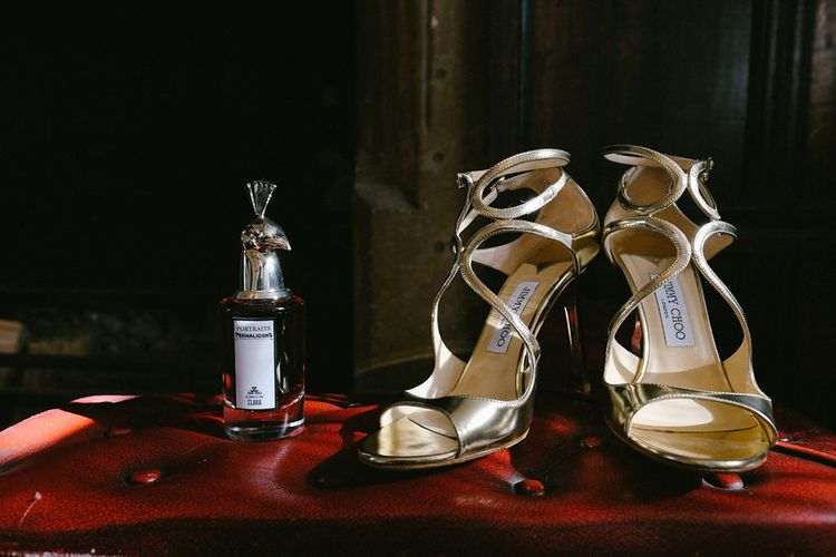 eGold Jimmy Choo Sandals | Natalie Hewitt Planned Wedding at Normanton Church & Kingsthorpe Lodge Barn | Jeni Smith Photography | Blue Ridge Wedding Videography