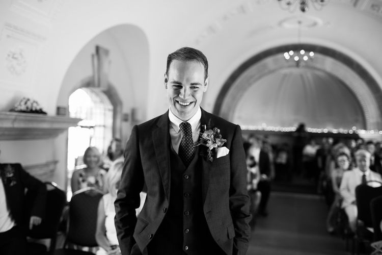 Wedding Ceremony | Groom in Hackett Suit | Natalie Hewitt Planned Wedding at Normanton Church & Kingsthorpe Lodge Barn | Jeni Smith Photography | Blue Ridge Wedding Videography