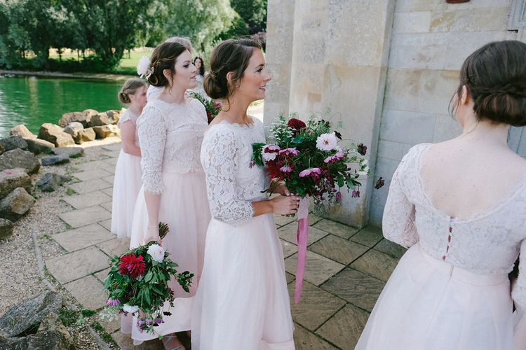 Bridesmaids in Pink Coast Separates | Natalie Hewitt Planned Wedding at Normanton Church & Kingsthorpe Lodge Barn | Jeni Smith Photography | Blue Ridge Wedding Videography
